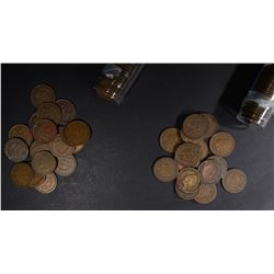 1900 & 1901 CIRC INDIAN CENT ROLLS 100-COINS TOTAL