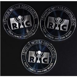 3-ONE OUNCE .999 SILVER RMC ROUNDS