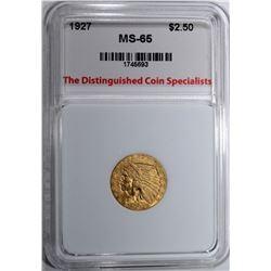 1927 $2.50 GOLD INDIAN, TDCS GEM BU