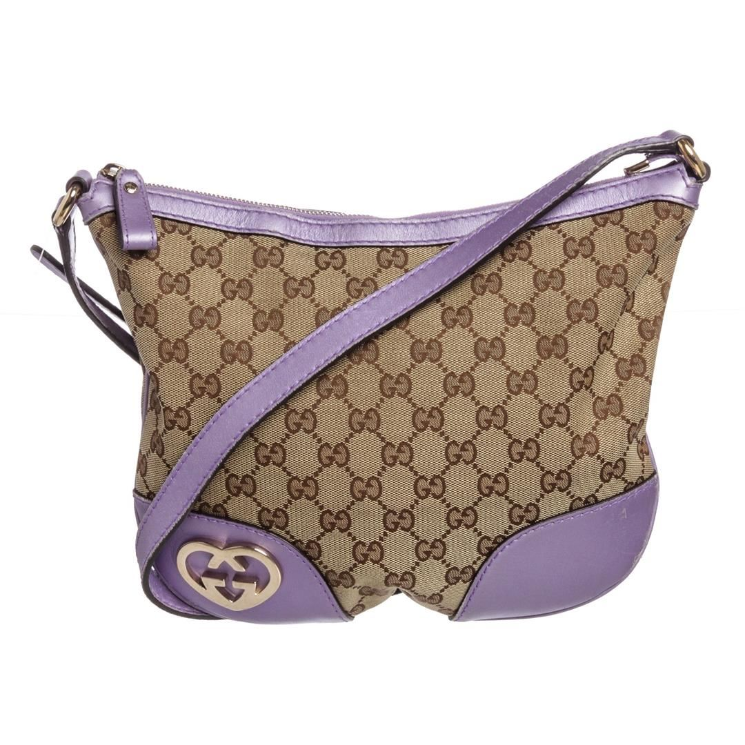 a94f50672619 Image 1 : Gucci Beige Metallic Purple Canvas Leather GG Crossbody Bag ...
