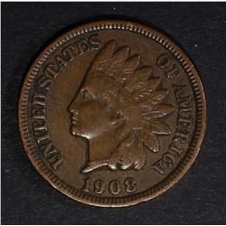1908-S INDIAN HEAD CENT, XF