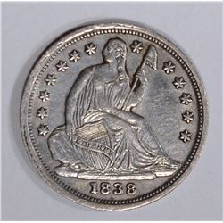 1838 SEATED HALF DIME, XF/AU