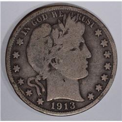 1913 BARBER HALF DOLLAR, VG