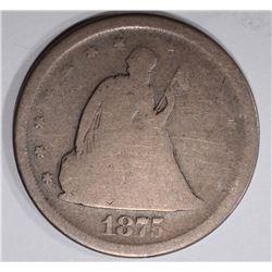 1875-S TWENY CENT PIECE, XF