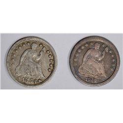 1854-O ARROWS & 1856-O SEATED HALF DIMES, VF+