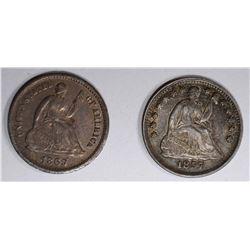 1857 & 1869 SEATED HALF DIMES, XF