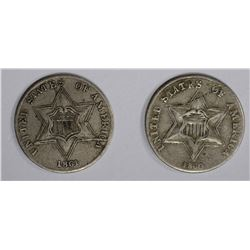 1861 XF & 1860 F damaged 3-CENT SILVER COINS