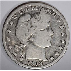 1898-O BARBER HALF DOLLAR, VG/F