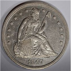 1847 SEATED DOLLAR, AU/BU