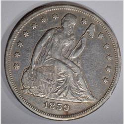 1859-O SEATED DOLLAR, XF/AU