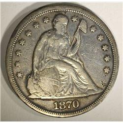 1870 SEATED DOLLAR, VF+