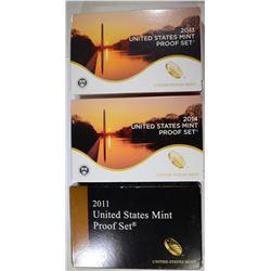 3 U.S. PROOF SETS: 2014, 2013 & 2011