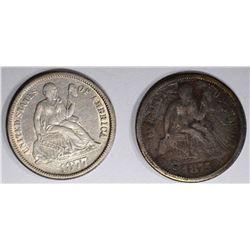 1875 GOOD & 1877 XF SEATED DIMES