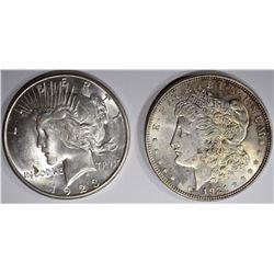 1921 MORGAN & 1923-S PEACE DOLLARS, CH BU