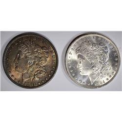 1881 & 1884-O MORGAN DOLLARS, CH BU