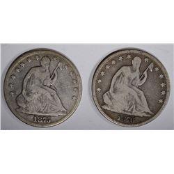 1875 & 1876 SEATED HALF DOLLARS, VG