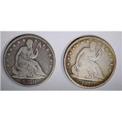 1858-O VG & 1875-S VG SEATED HALF DOLLARS