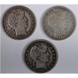 1906, O7 & 15-D BARBER HALF DOLLARS, FINE