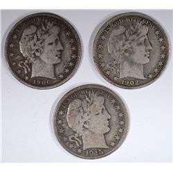 1902, 06-D & 15-D BARBER HALF DOLLARS, FINE