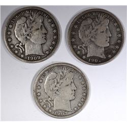 1902, 07-D & 09 BARBER HALF DOLLARS, FINE
