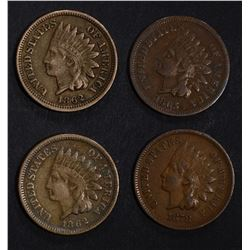INDIAN CENTS: 1862 XF, 62 VF, 78 VF & 65 XF