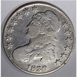 1830 CAPPED BUST HALF DOLLAR, VG/FINE