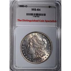 1880-O MORGAN DOLLAR, TDCS CH/GEM BU