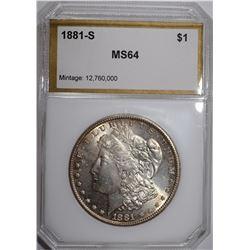 1881-S MORGAN DOLLAR, PCI CH/GEM BU