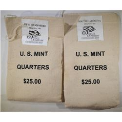 2 MINT SEALED STATE QTR BAGS $25 FACE