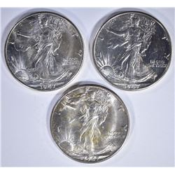 3  1947-D WALKING LIBERTY HALF DOLLARS