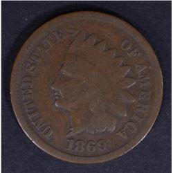 1869 INDIAN CENT G/VG