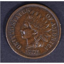 1874 INDIAN CENT XF