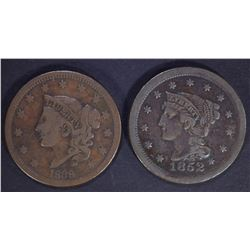 1838 F/VF & 1852 XF LARGE CENTS
