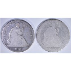2 - AG SEATED HALVES: 1866 & 1875