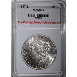1897-S MORGAN DOLLAR, TDCS, CH+/GEM BU