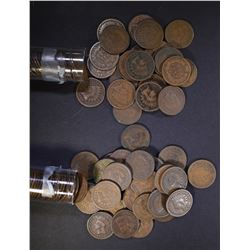 1887 & 1897 CIRC INDIAN CENT ROLLS 100-COINS TOTAL