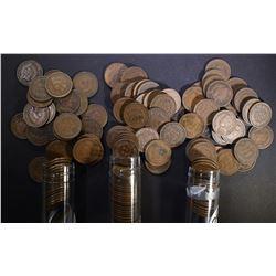1906, 07 & 08 CIRC INDIAN CENT ROLLS 150 COINS