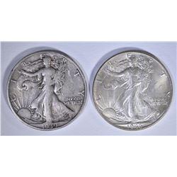 1939-S XF & 1946 BU WALKING LIBERTY HALF DOLLARS