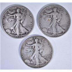 1934, 36 & 39-D WALKING LIBERTY HALF DOLLARS, XF