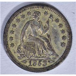 1853 ARROWS SEATED HALF DIME, AU+ ORIGINAL
