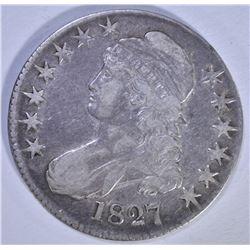 1827 BUST HALF DOLLAR, O-143, VF