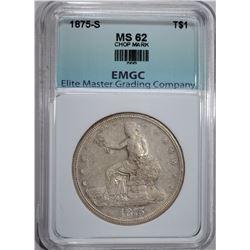 1875-S TRADE DOLLAR, EMGC  BU++ chopmark