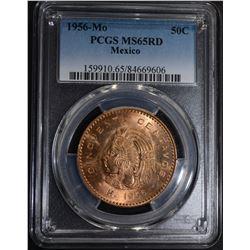 1956 MO MEXICO 50 CENTAVOS, PCGS MS-65 RED