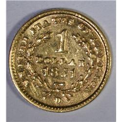1851 D $1.00 GOLD  AU