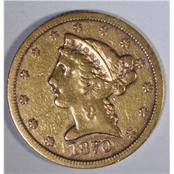 1870 S $5.00 GOLD LIBERTY  XF+