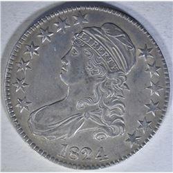 1824 CAPPED BUST HALF DOLLAR  AU