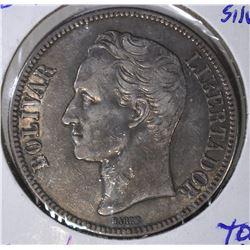 1929 SILVER 5 BOLIVARES AU TONE