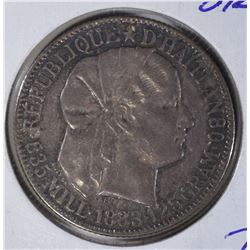 1883 SILVER 50 CENTS HAITI SEMI-PL
