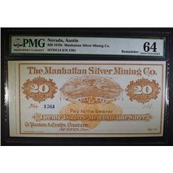 1870's $20 MANHATTAN SILVER MINING CO.
