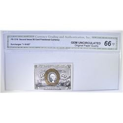 1863 SECOND ISSUE 50 CENT FRACTIONAL CURRENCY